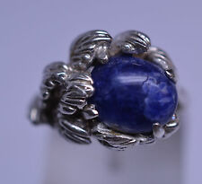 VINTAGE 1980s SODALITE RING WITH 3-D ASYMMETRIC LEAF DESIGN SIZE 5.5