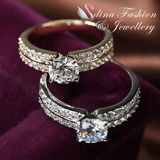 18K Gold Plated 0.8 Carat Round Cut Two Lines Side Stones Anniversary Ring