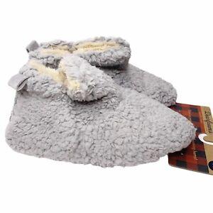 Dearfoams Chelsea Sherpa Booties L 9-10 Slippers Gray Comfort Memory Foam NEW