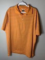 Adidas Men's Golf Climacool Polo Shirt Orange Size XL Striped Dry Fit Stretch