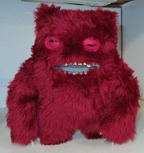 "FUGGLER CLAWEY DARK RED MAROON DELUXE PLUSH 12"" Funny Ugly Monster TEETH Button"