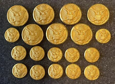 Vintage Lot 19 Waterbury Button Co Gold Tone US Military Eagle Shank Buttons