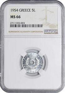 1954 MS66 Greece 5 Lepta UNC NGC KM# 77 Aluminum Coin