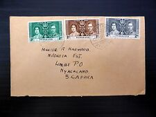 NYASALAND 1937 Coronation (3) Used on FDC with Limbe Back Stamp FP8700