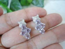Natural AMETHYST and White Cubic Zirconia Sterling 925 Silver EARRINGS