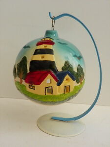 CANDLE TEA LIGHT HOLDER LIGHTHOUSE VINTAGE DECORATIVE CERAMIC