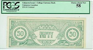 College Currency $50 PCGS Back Great Gift