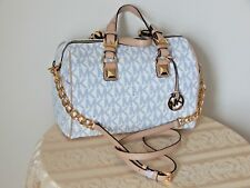 NWT $348 MICHAEL KORS SIGNATURE GRAYSON NAVY WHITE MD CHAIN SATCHEL HANDBAG