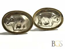 Vintage Ladies Gold Vermeil Sterling Silver Elephant Clip-On Earrings - Mexico