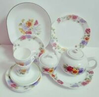 Gorgeous 21 pc Corning Corelle Summer Blush Dinner Set Plates Sugar Bowl Teapot+