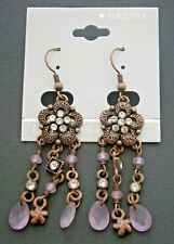 Bead Rhinestone Chandelier Hook Earrings Nc940*) New Copper Tone Metal Pink