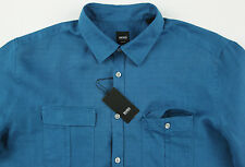 Men's HUGO BOSS Teal Blue Linen OMAR Shirt 2XL XXL NWT NEW $185+ Awesome!