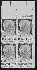 US Scott #1526, Plate Block #34922 1974 Robert Frost 10c FVF MNH Upper Right