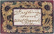 New York NY Postcard 1909 WEST BRANCH Greetings Gold FLower Border
