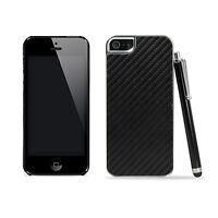 Black Carbon Fiber Clip On Hard Back Case Cover For iPhone 5/5S/SE + Stylus Pen