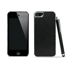 Back Carbon Fiber Pattern Hard Chrome Case Cover for iPhone 5 5s + Stylus Pen
