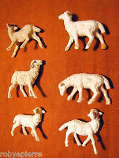 6 pecore sheeps pecorelle del presepe crib vintage made in italy bianche beige