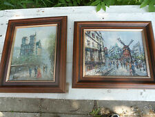 20th Century pair of impressionist oak framed oil paintings of Paris