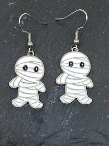 Pair Cute White Enamel Mummy Earrings Goth Pagan Halloween Novelty Horror Fun