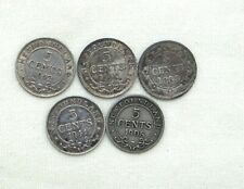 Lot of 5  Newfoundland 5 cent silver piece