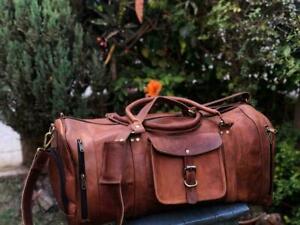 VINTAGE LARGE GENUINE LEATHER HOLDALL TRAVEL WEEKEND CABIN SPORTS DUFFEL BAG TAN