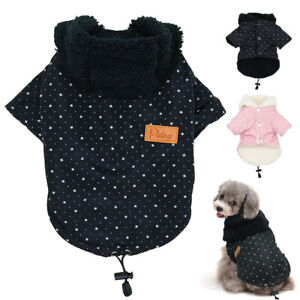 Winter Dog Clothes Warm Fleece Padded Pet Cat Puppy Small Dog Jacket Hoodie Coat