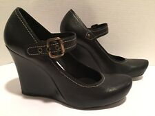 VIA SPIGA chaussures Compensé babies cuir travail noir 9.5 M porté une fois