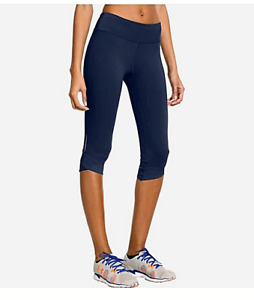 Under Armour UA Fly-by navy cropped capri leggings mesh lace inserts size L