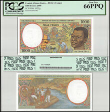 Central African States (Congo) 1,000 (1000) Francs, 2000,P-102Cg,UNC,PCGS 66 PPQ