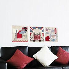 LONDON PANORAMIC SCENE Wall Decals Signs Flag Clock Bridge Room Decor Stickers
