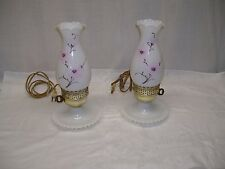 PAIR VINTAGE ELECTRIC HURRICANE TABLE LAMPS MILK GLASS HAND PAINTED PINK FLOWER