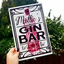 NEW! PERSONALISED LARGE METAL PINK GIN BAR SIGN GLOSSY WHITE OR MIRROR GOLD (10)