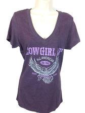 Cowgirl Up Womens  V-Neck TeeShirt XL Purple All American S/S CG1857 NEW