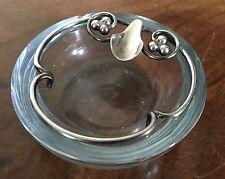 DGH Denmark Silver Crystal Bowl  Art Deco Dansk Guldsmede Handvaerk 925 Ash Tray