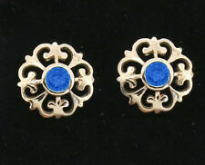 E076 Genuine 9ct Solid Yellow Gold NATURAL Sapphire Fleur-de-Lis Stud Earrings