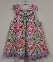 EUC Counting Daisies Girls Multi Color Floral Dress With Purple Trim Size 6X