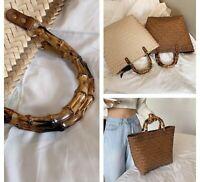 Straw Rattan Women Handbag With Bamboo Handles Casual Woven Style Brown Bag