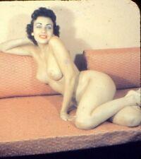 VICKI PALMER Original 1950s Buxom Nude Stereo Realist 3D Color Slide vv