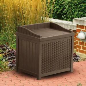 Suncast Deck Box 22 Gallon Outdoor Resin Wicker Storage Box with Seat Java Brown