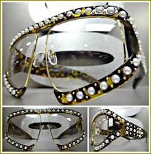 OVERSIZE RETRO Style Clear Lens EYE GLASSES Tortoise & Gold Pearl Frame HANDMADE