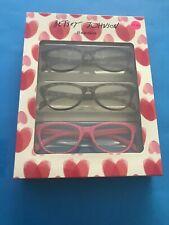 NWT 3 Pair betsey johnson Reading Glasses +2.00 Pink/black/tortoise
