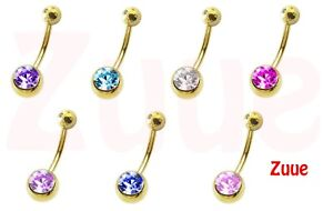 24ct Single Jewel Gold Plated Belly Bars HYPOALLERGENIC 1.6mm 10mm 24kt