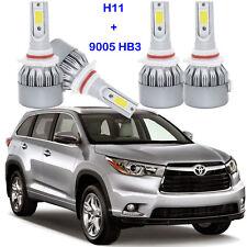LED Headlight Kit Lights H11 9005 HB3 Bulbs For Toyota Highlander 2017-2015 4PCS