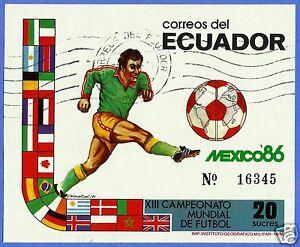 ECUADOR, BLOCK N° 125 (MICHEL CAT.), USED, MEXICO 86, SOCCER