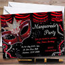 Red & Black Mask Masquerade Ball Personalised Party Invitations