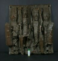 "Large 14"" African BENIN Bronze Royal Plaque, Nigeria, Benin city, TRIBAL ART"
