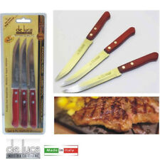 Set 3 Coltelli Bistecca manico in legno resinato rivettato lama acciaio inox