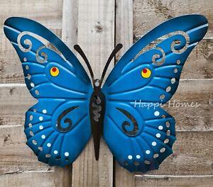 Metal Wall Art Large Blue Butterfly Hooks Outdoor Fence Ornament Garden Decor