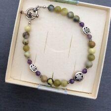 Celtic bracelet Irish designer jewelry Connemara marble purple amethyst gemstone