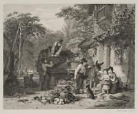 C.G. Lewis (1808-1880), Nach W.Witherington, Fuhrleute, Radierung